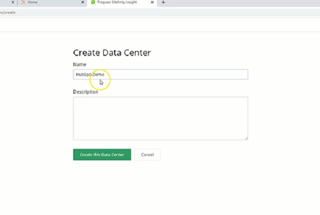creating a data center in sitefinity insight
