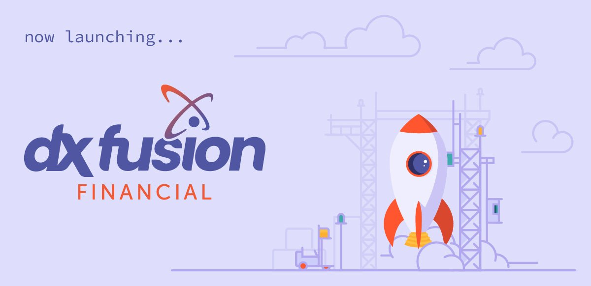 dxfusion financial launch graphic with rocketship launching