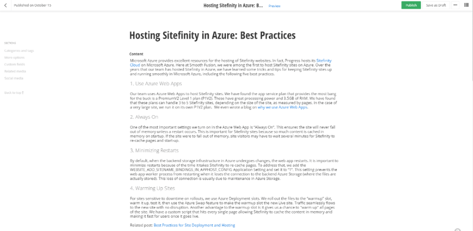 writing blogs in sitefinity